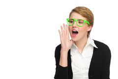 Shouting beautiful young woman in green glasses. Royalty Free Stock Photos