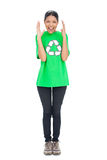 Shouting black haired model wearing recycling tshirt Stock Photos