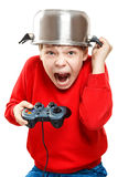 Shouting boy with gamepad in hands Stock Photography