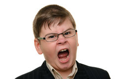 Shouting boy in glasses Royalty Free Stock Photography