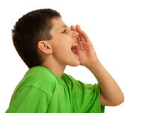 Shouting boy in green. A boy is shouting; isolated on the white background Royalty Free Stock Photo