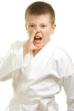 Shouting boy in kimono stock photo