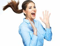 Shouting business woman with motion long hair Stock Photos