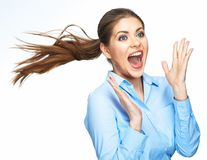 Shouting business woman with motion long hair. Isolated on white background Stock Photos