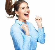 Shouting business woman with motion long hair. Isolated on white background Stock Photo