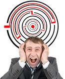 Shouting businessman against entrance. To difficult maze puzzle Royalty Free Stock Photography