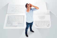 Shouting casual man standing Royalty Free Stock Images