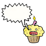 Shouting cupcake cartoon Stock Photos