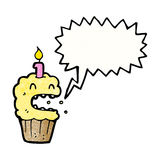 Shouting cupcake cartoon Royalty Free Stock Photos