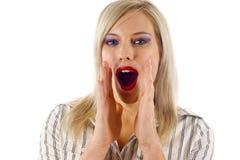 Shouting da mulher Imagens de Stock