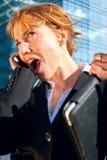 Shouting da mulher de negócio Fotos de Stock