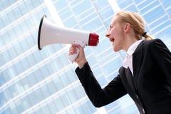 Shouting da mulher de negócios Foto de Stock Royalty Free