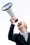 Shouting da mulher de negócios Imagem de Stock