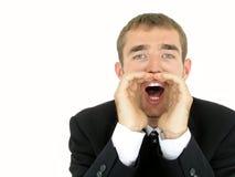 Shouting do homem de negócios Fotografia de Stock Royalty Free