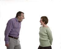Shouting at each other. Couple shouting at each other Royalty Free Stock Photography