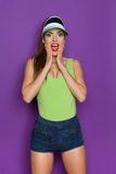 Shouting Excited Woman Holding Hands On Chin Royalty Free Stock Photos