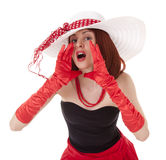 Shouting fashion girl in retro style with big hat Royalty Free Stock Photos