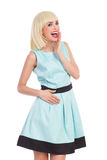 Shouting fashionable blond girl Stock Photos