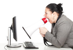 Shouting fat businesswoman with megaphone Royalty Free Stock Photo