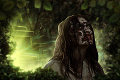 The shouting female zombie. Cemetery. Halloween. Royalty Free Stock Images