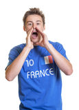 Shouting french soccer fan Royalty Free Stock Image