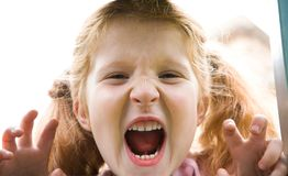 Shouting girl. Image of happy girl shouting at camera Stock Photography