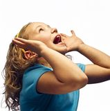 A Shouting Girl. A Girl Shouting With Head Up Stock Photo