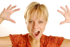 Shouting girl. A young blonde shouting girl Royalty Free Stock Photography
