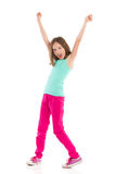 Shouting girl with arms raised. Full length studio shot isolated on white Stock Image