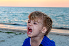 Shouting girl. Image of Shouting girl on a beautiful beach Royalty Free Stock Image