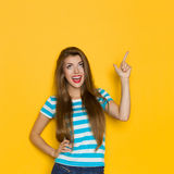 Shouting Girl Looking Up Royalty Free Stock Photos