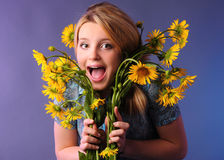 Shouting girl portrait Stock Image