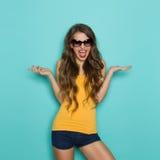 Shouting Girl In Sunglasses Stock Photo