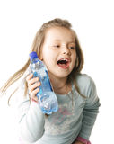 Shouting girl with water. Little girl holding bottle of water and shouting Royalty Free Stock Images
