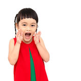 Shouting girl. Wear red christmas dress Royalty Free Stock Images