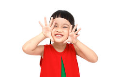 Shouting girl. Wear red christmas dress Stock Photos