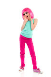 Shouting girl. Young girl with pink hair and sunglasses shouting. Full length studio shot  on white Stock Images