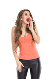Shouting Happy Woman Stock Images