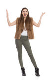 Shouting Happy Woman Standing With Arms Outstretched Royalty Free Stock Images