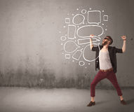 Shouting hipster with empty speech bubble Royalty Free Stock Photos