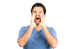 Shouting Hispanic Male Cupping Hands Mouth Royalty Free Stock Photos