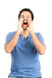 Shouting Hispanic Male Cupping Hands Mouth V royalty free stock image