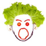 Shouting human head made of vegetables Royalty Free Stock Photos
