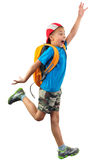 Shouting jumping boy isolated over white Royalty Free Stock Photo