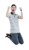 Shouting jumping man with his arms raised up on white background. Cheering man with his arms raised up on white background Royalty Free Stock Photo