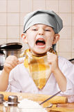 Shouting little cook Royalty Free Stock Images