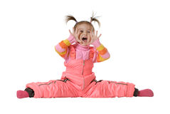 The shouting little girl. Isolated on a white background Royalty Free Stock Photography