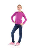 Shouting little girl posing. Stock Images