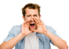 Shouting man angry scream white background Stock Images