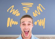 Shouting man with doodles in room. Digital composite of Shouting man with doodles in room Royalty Free Stock Photo